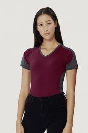 HAKRO Women-V-Shirt-Contrast 190 Performance