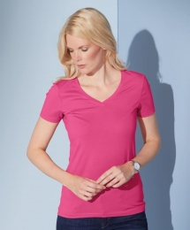 James & Nicholson Damen Stretch V-Neck T-Shirt